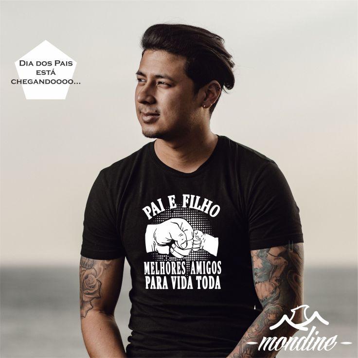 Pai e Filho - Melhores Amigos pra Toda Vida - Estampa Camiseta Mondine - Masculina Preta
